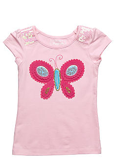 Flapdoodles Butterfly Applique Top Girls 4-6X
