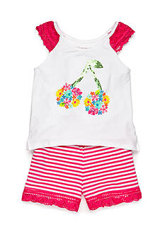 Flapdoodles 2-Piece Crochet Cherry Top and Stripe Short Set Girls 4-6X