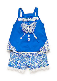 Flapdoodles 2-Piece Butterfly Tank Top and Paisley Short Set Girls 4-6X