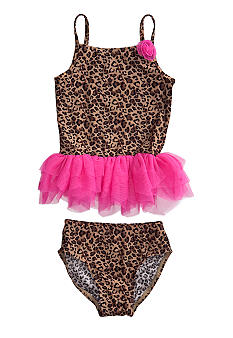 Flapdoodles Lexi Leopard 2-piece Swimsuit Girls 4-6X