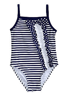 Flapdoodles Nautical Ruffle One-piece Swimsuit Girls 4-6X