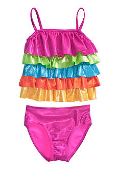 Flapdoodles Sparkle Ruffle 2-piece Swimsuit Girls 4-6X