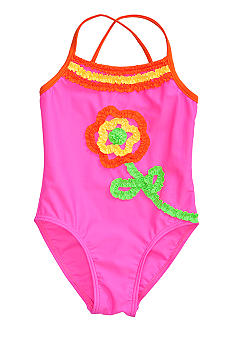 Flapdoodles Flower Ruffle 1-piece Swimsuit Girls 4-6X