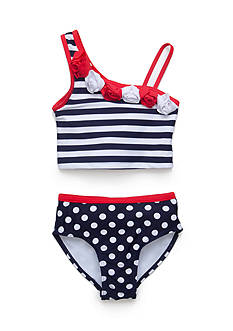 Flapdoodles 2-Piece Nautical One Shoulder Tankini Girls 4-6X