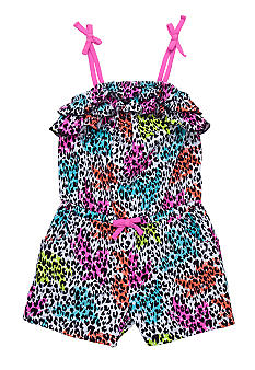 Flapdoodles Colorful Leopard Romper Girls 4-6X
