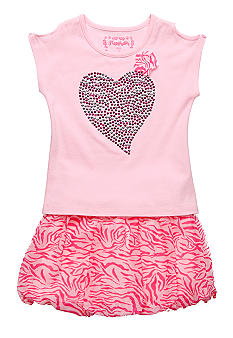 Flapdoodles Zebra Love Bubble Skort Set Girls 4-6X