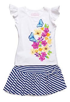 Flapdoodles Spring Breeze Skort Set Girls 4-6X