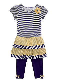 Flapdoodles Nautical Chiffon Dress Set Girls 4-6X