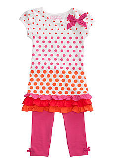 Flapdoodles Dot Dress Set Girls 4-6X