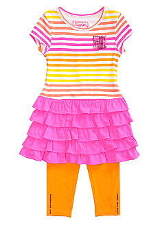 Flapdoodles Ombre Stripe Dress Set Girls 4-6X