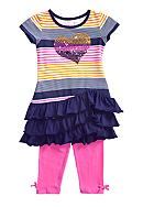 Flapdoodles Stripe Ruffle Dress Set Girls 4-6X
