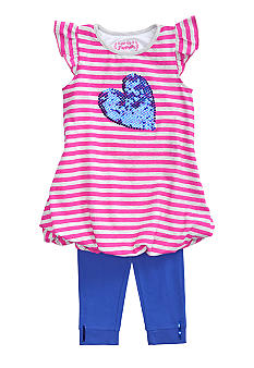 Flapdoodles Sequin Heart Stripe Dress Set Girls 4-6X