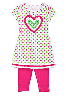 Flapdoodles Heart Dot Dress Set Girls 4-6X