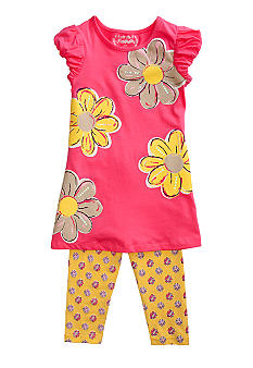 Flapdoodles Painted Flower Dress Set Girls 4-6X