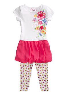 Flapdoodles Flower Chiffon Bubble Dress Set Girls 4-6X