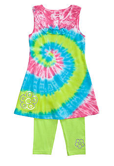 Flapdoodles Swirl Tie Dye Dress Set Girls 4-6X