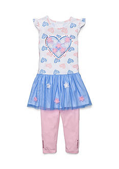 Flapdoodles 2-Piece Heart Mesh Dress Set Girls 4-6x