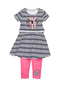 Flapdoodles 2-Piece Striped Pullover Dress and Legging Set Girls 4-6X