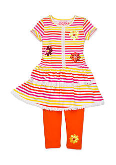 Flapdoodles 2-Piece Lacy Stripe Dress and Legging Set Girls 4-6X