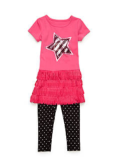 Flapdoodles 2-Piece Fringe Star Dress and Legging Set Girls 4-6x
