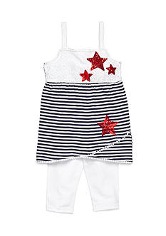 Flapdoodles 2-Piece Stars and Stripe Dress and Capri Leggings Set Girls 4-6X