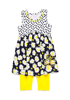 Flapdoodles 2-Piece Sunflower Dress and Capri Legging Set Girls 4-6X