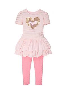 Flapdoodles Heart Sparkle Dress Set Girls 4-6X