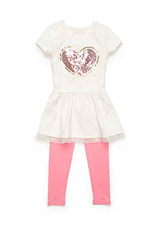 Flapdoodles 2-Piece Textured Heart Dress and Leggings Set Girls 4-6x