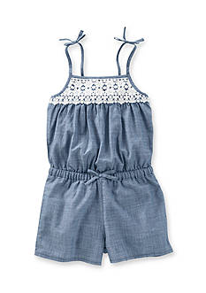 OshKosh B'gosh Chambray Crochet Romper Girls 4-6x