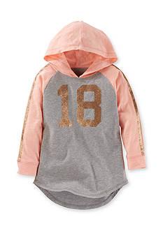 OshKosh B'gosh Long Sleeve Hooded Sparkle Varsity Tunic Girls 4-6x