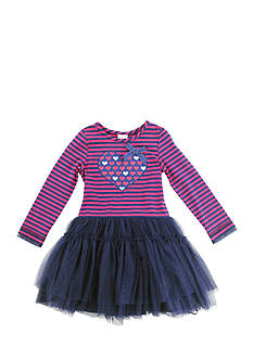 Nannette Long Sleeve Heart Stripe to Mesh Dress Girls 4-6x