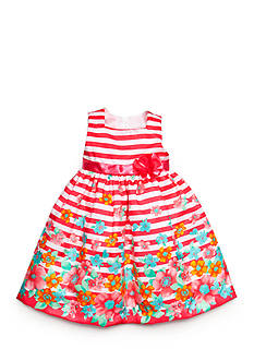 Nannette Floral Striped Shantung Dress Girls 4-6x