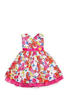 Nannette Floral Clip Dot Dress Girls 4-6x