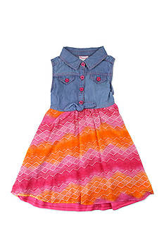 Nannette Denim Chiffon Print Dress Girls 4-6x