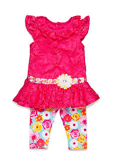 Nannette 2-Piece Floral Lace Tunic and Capri Set Girls 4-6x