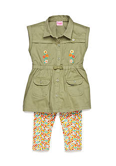 Nannette 2-Piece Button Front Tunic and Floral Capri Set Girls 4-6x