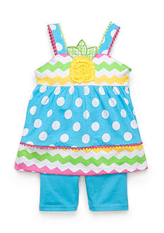 Nannette 2-Piece Chevron Dot Top and Biker Shorts Set Girls 4-6X