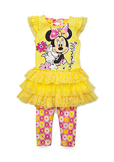 Disney 2-Piece Minnie Mouse Tutu Tunic and Floral Legging Set Girls 4-6x