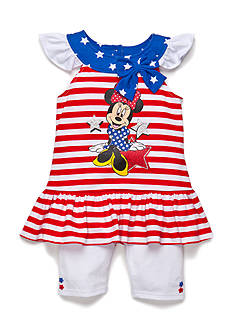 Disney 2-Piece Minnie Mouse Americana Tunic and Biker Short Set Girls 4-6x