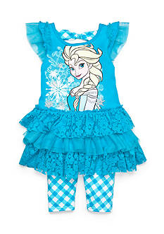 Disney 2-Piece Frozen Tutu Tunic and Gingham Legging Set Girls 4-6x