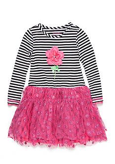 Nannette Striped Glitter Mesh Flower Dress Girls 4-6x