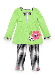 Nannette 2-Piece Flower Houndstooth Tunic and Legging Set Girls 4-6x