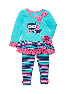 Nannette Owl Rainbow Tunic and Legging 2-Piece Set Girls 4-6X