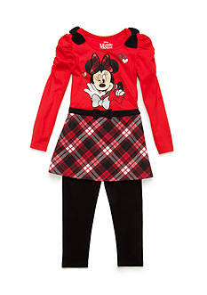 Disney 2-Piece Minnie Mouse Plaid Tunic and Legging Set Girls 4-6x
