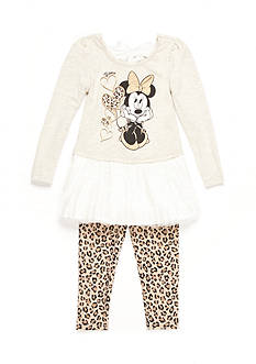 Disney Minnie Mouse Ruffle Pleat Tunic and Legging 2-Piece Set Girls 4-6x
