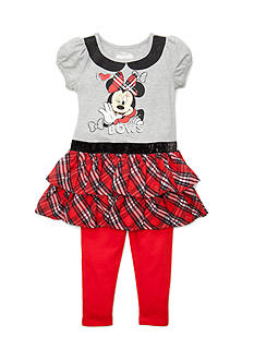 Disney Minnie Mouse Plaid Top and Leggings 2-Piece Set Girls 4-6x