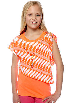 One Step Up Neon Popover Necklace Shirt Girls 7-16
