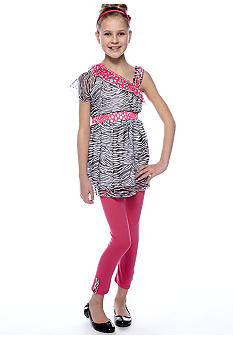 One Step Up Zebra One Shoulder Set Girls 7-16