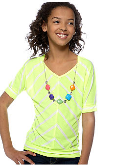 One Step Up Neon Stripe Dolman Shirt Girls 7-16