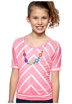 One Step Up Neon Striped Top Girls 7-16